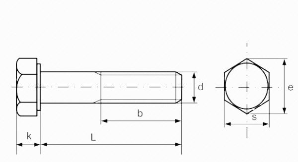 Болт DIN 931 с шестигранной головкой нержавеющая сталь А2