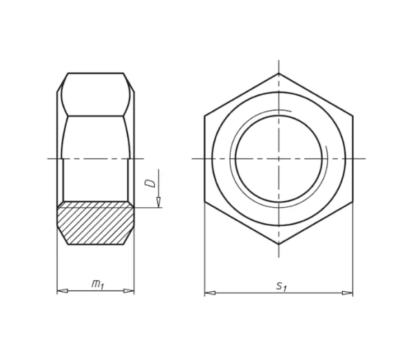 Гайки шестигранные (DIN 934)