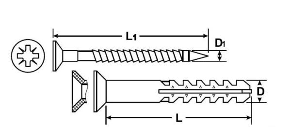 Дюбель фасадный MBR-ST потай Т30