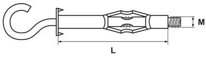 Дюбель металлический МОЛЛИ с крюком