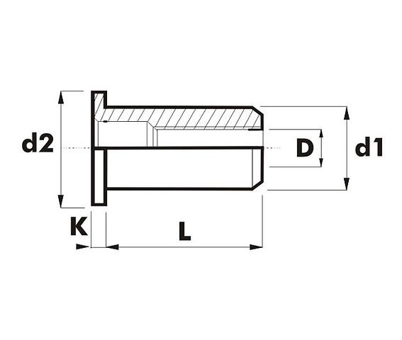 Заклепки резьбовые цилиндрический бортик/ A2
